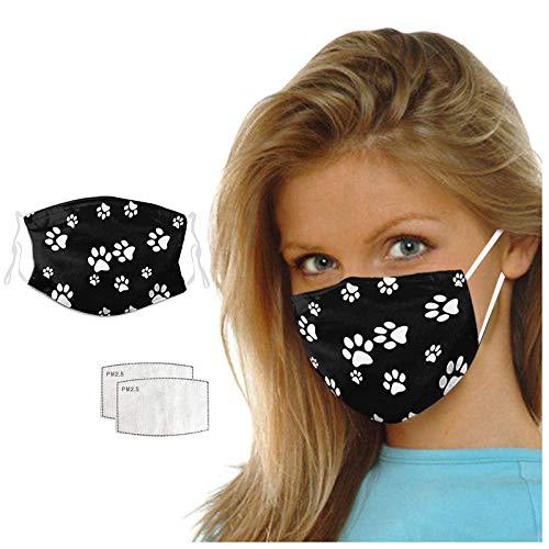 Unisex Mundschutz mit 2pc Filter für Erwachsene Tier Hund Katze Pfote Drucken Multifunktionstuch Stoffmaske Motive Halstuch Staubdicht Mund und Nasenschutz Schlauchtuch für Herren Damen (A)