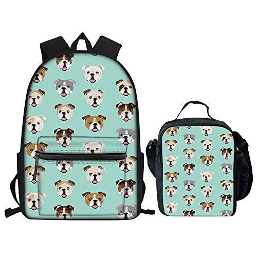 Funky Dog Girls Mochila para la Escuela, Adolescentes, niños, Libros, Senderismo, Mochila, Bolsa de Almuerzo, Juego de Bulldog inglés Floral