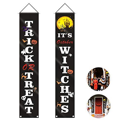 welltop Halloween Veranda, Trick und Treat Banner, hängendes Schild für Zuhause Indoor Outdoor Veranda Wanddekoration schwarz, 180x32cm