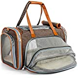 Mr. Peanut's Expandable Airline Approved Soft Sided Pet Carrier, Low Profile Gold Series Tote, Premium Brand Self Locking Zippers, Plush Faux Fleece Bedding with a Sturdy Plywood Base