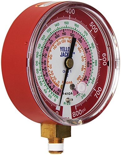 Yellow Jacket 49137 3-1/8' Red Pressure, 0-800 psi, R-22/404A/410A Gauge Degrees F