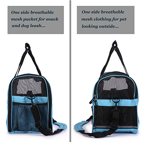 BabycarePro Tragetasche für Hunde & Katzen mit Tragegriff und Schultergurt Hundetasche Komfort Airline Genehmigte Hundetasche Weich-seitig Hund Tasche mit Matte belastet 7 kg, Blau