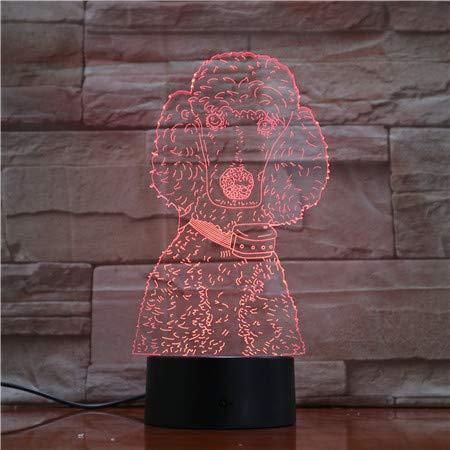 Remote Pudel bilden Nachtlichter Neuheit Farbwechsel Tischlampen Schlafzimmer Tier Schlafen Beleuchtung Kindergeschenke