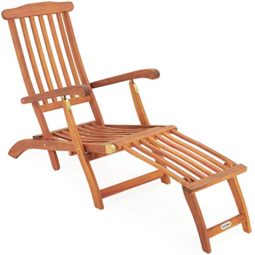 Deuba Tumbona Queen Mary de madera de Acacia con reposapiés reposabrazos respaldo ajustable silla de jardín exterior