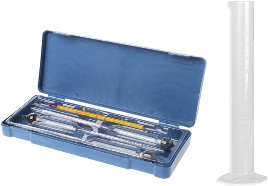wenjuersty Probador de hidrómetro Botella de medición vintage Caja de plástico Herramientas Alcoholímetro Medidor de Alcohol Medidor de Concentración de Vino Termómetro Hidrómetro Alcohol Herramientas