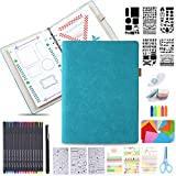 Dotted Journal Kit, Tebik A5 Bullet Grid Journal Loose Leaf with 6 Ring Binder, 240 Pages, 15 Colored Pens, Stencils, Stickers, Tapes for Journal Diary Schedule Planner, 5.25' x 8.25' - Teal
