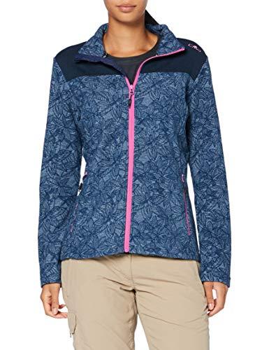 CMP Damen Strickjacke für Frauen mit durchgehendem Reißverschluss und Blumendruck 30H7516 Jacke, Blue, D38
