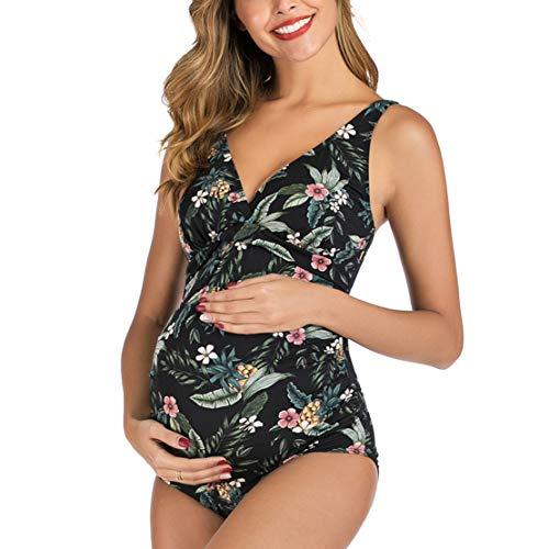 Traje de Baño para Embarazadas Bañadores Premama Bikini Embarazo Bañador Maternidad 1 Pieza Negro/L