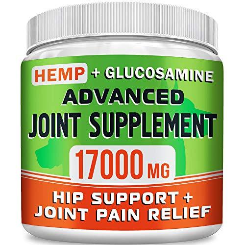 GOODGROWLIES Hemp Chews + Glucosamine - Advanced Dog Joint Supplement - Hemp Seed Oil - MSM, Turmeric, Chondroitin - Natural Joint Pain Relief - Made in USA, 170 Treats, Bacon Flavor