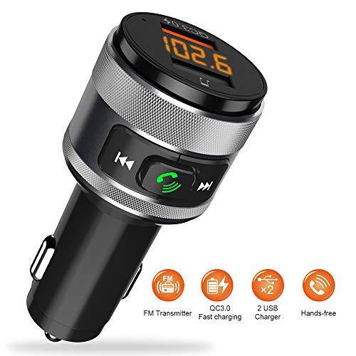 Transmisor FM Bluetooth, Manos Libres Bluetooth Coche Kit Adaptador de Radio, QC3.0 Inalámbrico Cargador de Coche con Doble Puerto USB y leer U Disk para Samsung Huawei Sony HTC etc