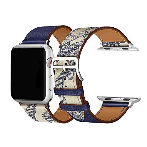 Cailin Kompatibel mit iWatch Armband 38mm 42mm 40mm 44mm, Echtleder Uhrenarmband Ersatz für Watch Series6/SE/Series5 Series 4, Series 3, Series 2, Series 1 (42mm/44mm, Ink Blue)