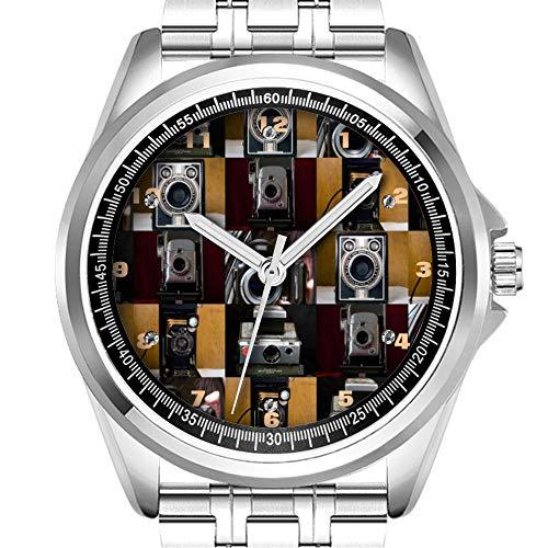 Personalisierte Herrenuhr Mode wasserdicht Uhr Armbanduhr Diamant 265.Camera Collage Klassische Edelstahluhr