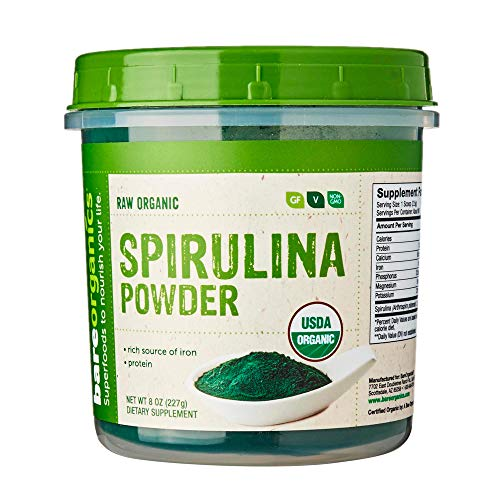 BareOrganics SPIRULINA Powder (Raw - Organic), 8 Ounce (Pack of 1)
