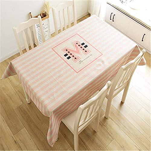 Wohnzimmer-Accessoires Baumwolle und Leinen rosa geometrische Tischdecke kreatives Wohnzimmer Esszimmer Tischdecke Staubschutztuch