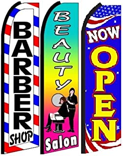 Barber Shop, Beauty Salon, Now Open King Swooper Feather Flag Sign- Pack of 3 (Hardware Not Included)