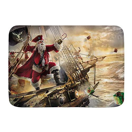 XWJZXS Alfombras de baño Antideslizantes para , Navidad Divertida, Navidad Fresca, Papá Noel en un Barco Pirata náutico en el océano, tapices Festivos, Festivos, Alfombra de baño Absorbente, Felpudo