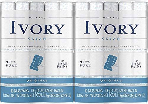 Ivory Clean Original Bar Soap 4 Ounce 10 Count Pack of 2 Total 20 Bars