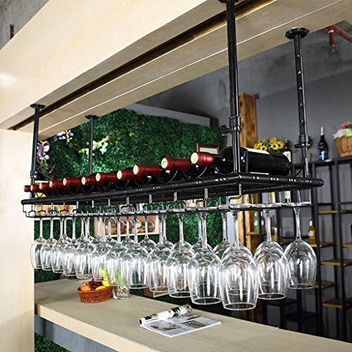 Bar Butler Wine Dispenser Capovolto pensile orientabile Altezza bicchieri di vino di asciugatura del supporto della cremagliera della bottiglia dell'organizzatore e Calici bagagli rustico Nero Rack 1y