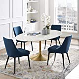 Modway Lippa 78' Oval-Shaped Mid-Century Modern Dining Table with Artificial Marble Top and Gold Base
