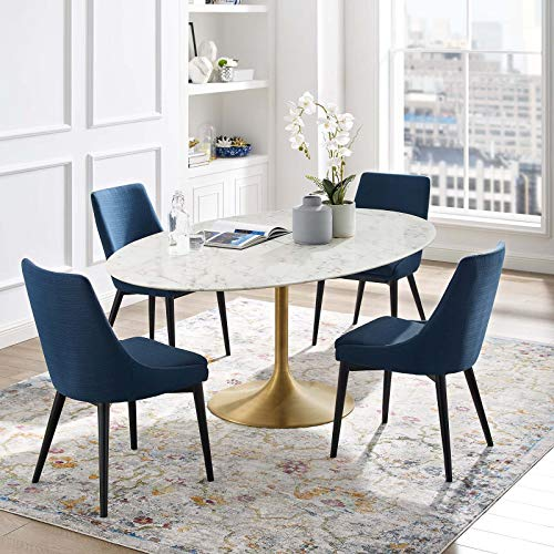 "Modway Lippa 78"" Oval-Shaped Mid-Century Modern Dining Table with Artificial Marble Top and Gold Base"