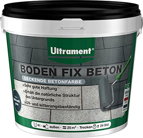 Ultrament Boden Fix Betonfarbe - Tolle Bodenfarbe in verschiedenen Farben (Anthrazit 4 Liter)