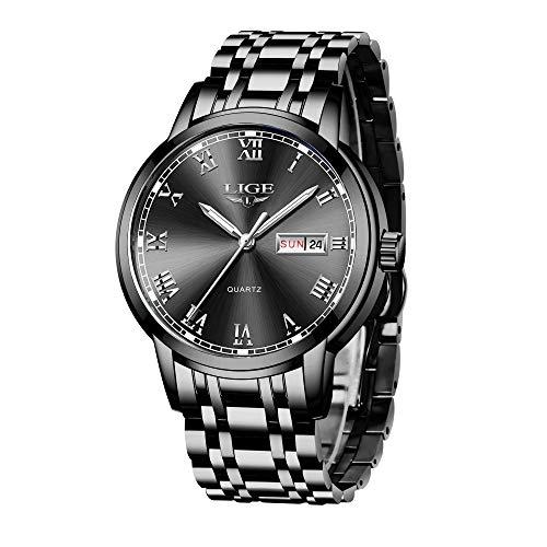 LIGE Uhren Herren Mode Edelstahl Wasserdicht Analoger Quarzuhr Auto-Kalender Geschäft Kleid Armbanduhr Maenner (Steel Black)