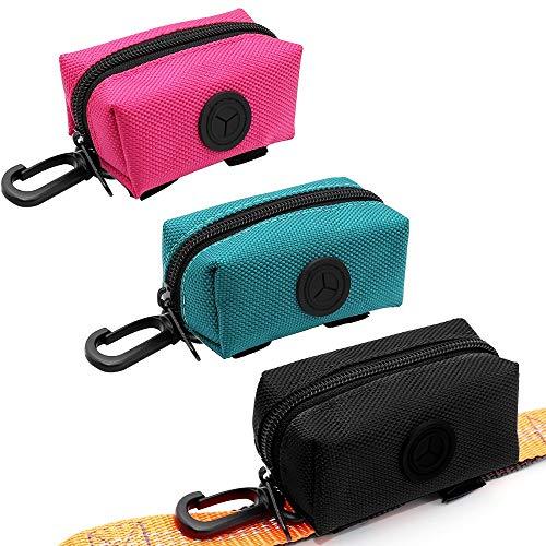 SLOSN 3 Pack Pet Waste Bag Dispenser Dog Poop Bag Holder with Zippered Portable Dog Poop Bag Holder with Hook for Leash,Great Accessory for Walking, Running with Dog (Rosered Green Black)