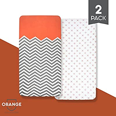 "Organic Cotton Crib Sheet Set: Standard Full Crib Mattress Sheets! (2 Pack) Baby Sheets for Crib, Soft, Comfortable, Unisex, for Infants and Toddlers, 52""x28""x9""!"