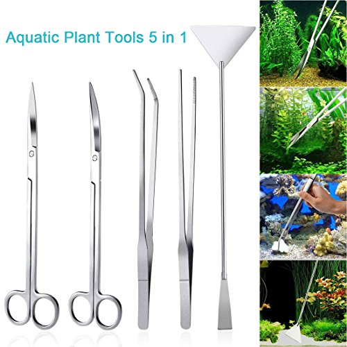 LONDAFISH Fish Tank Stainless Steel Plant Tool Set Aquarium Aquascaping Tweezers Scissors Kit 3 in 1/Substrate Spatula (5 in 1)