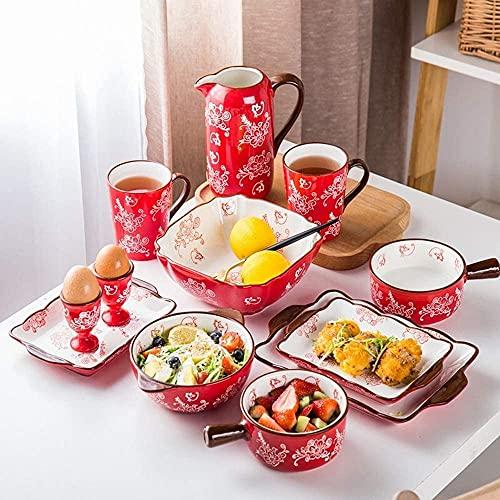 Juego de Platos, Conjuntos de vajillas, Conjuntos de Platos de Porcelana Japonesa Incluye ensaladas/Platos para la Cena/Tazas, lavavajillas y Caja Fuerte de microondas - Pareja de vajillas para co