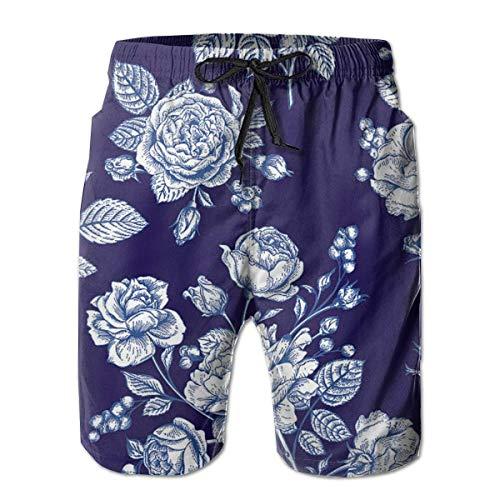 Verano Casual Hombre Traje de baño Bañador Shorts de Playa de Secado rápido - Flores Rosas Floral Azul Marino, Talla XL