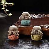 Escultura Jardin 3 Unids/Set Mini Estatuas De Buda De Cerámica Muebles De Monje Pequeño Escultura De Monje Gordo Pequeño Hogar Casa De Té Decoración De Escritorio Té Mascotas