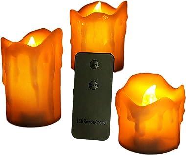 3Pcs Flameless LED Candle Battery Operated Tea Light Flickering Wedding Xmas Decor (Light Yellow)