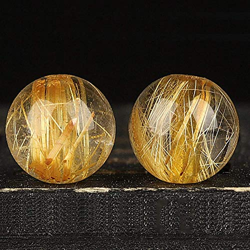 6Pcs Set Brazil Natural Gold Rutilated Quartz Crystal Spacer Loose Beads Feng Shui Charms for Bracelets DIY Crafting Jewelry Making Bulk Attract Money Accessories Necklaces for Good Luck Wealth,6mm Ki