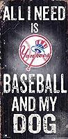 MLB ニューヨーク・ヤンキース ユニセックス ニューヨーク・ヤンキース ベースボールとマイドッグサイン チームカラー 6 x 12インチ