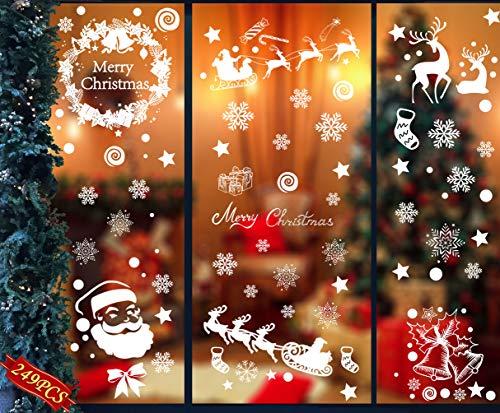 Hook 249 Fensterbilder Weihnachten Selbstklebend Schneeflocken Fensterdeko Weihnachten,Abnehmbare Weihnachtsdeko Fenster Statisch Haftende PVC Aufkleber für Weihnachts Fenster,Türen,Schaufenster