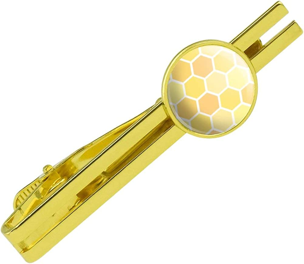 GRAPHICS & MORE Yellow Honeycomb Pattern Round Tie Bar Clip Clasp Tack Gold Color Plated