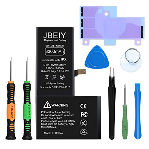 Akku für i-Phone X/10, JBEIY Neu 3300mAh Hoher Kapazität Akku, Ersatzakku mit Professionell Reparatursatz Kit-1 Jahre Garantie