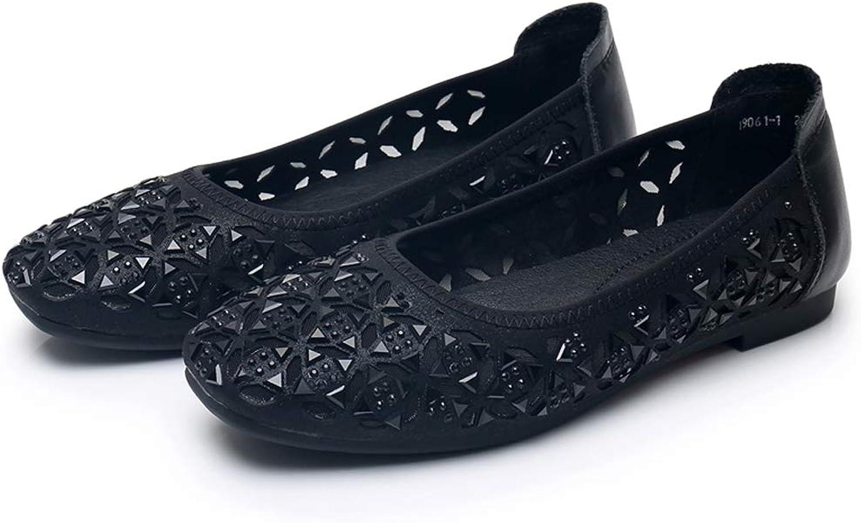 Sommer Strass Mesh-Sandalen Frauen Flache Hohl Mode Schuhe