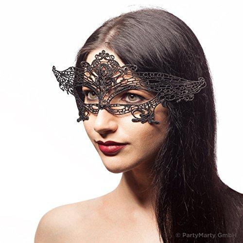 Venezianische Maske PRINZESSIN - Augenmaske aus Stoff Spitze für Damen - Halloween Fasching Karneval Maskenball