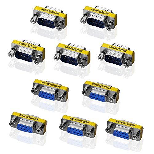 SIENOC Adaptador de adaptador de género de 9 pines serie RS232 (5 Macho + 5 Hembra Adaptador)