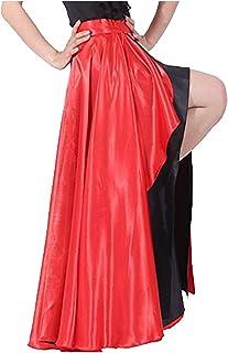 Spanischer Bulltanzrock für Erwachsene, Flamenco-Stil, zweilagig, Satin, -Kleid, außen rot / innen schwarz