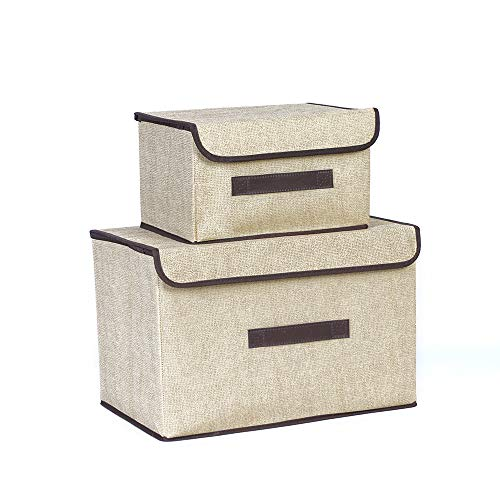 BAYUTE foldable fabric storage box 2 dustproof storage boxes with flip lid can store clothes shelves books and toys used in family bedroom closet storage boxes