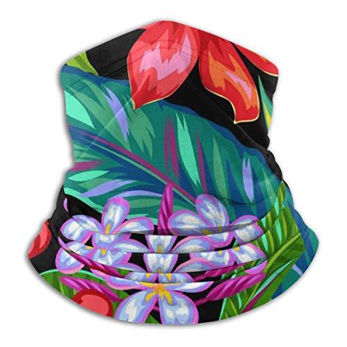 Unisex Microfiber Neck Warmer Thailand Flowers Tropical Sunscreen Windproof & Dust Neck Gaiter Tube Ear Warmer Balaclava Headband Scarf Face Mask Black