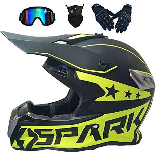 Cascos de Motocross MJH-02 Casco Moto Niño Adulto Homologado DOT Cascos Integrales Hombre Mujer para Enduro Quad Bike Bici Motos Electricas Minimoto BMX ATV con Gafas Descenso - Negro Amarillo