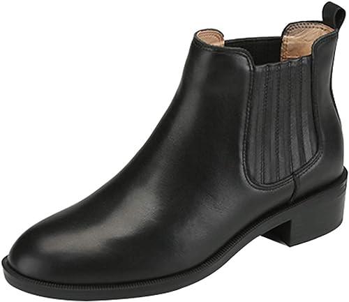ZHRUI Femmes Hiver Bottines Chelsea Chelsea rétro Angleterre Plat Bottes Martin Plus Chaussures de Velours Chaud (Couleuré   Noir 2, Taille   35EU)  confortable