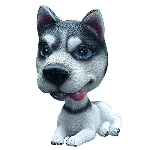 VOSAREA Figurine de chien Husky qui bouge la tête pour décoration et jouet