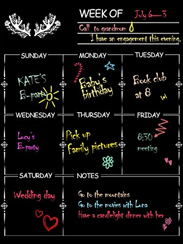 NABLUE Fridge Magnetic Calendar Board Weekly Meal Planner, Dry Erase Calendar Magnetic Chalkboard Design Family Calendar Organiser- 30 x 40 cm Weekly Menu Planner with Grocery List and Notes