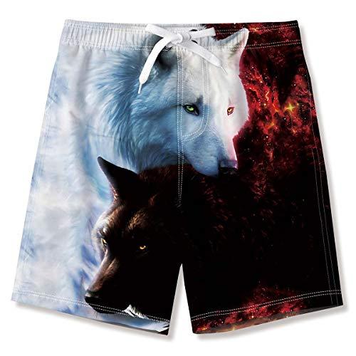 Jungen Kinder 3D Wolf Badehose Verstellbarer Zugschnur Sport Shorts Lauf Badeanzug Board Shorts 10-12 Jahre
