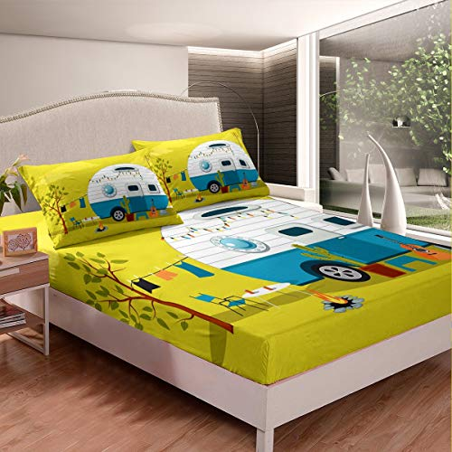 Erosebridal Cactus Fitted Sheet, Guitar Bed Sheet Set Queen Size Hawaiian Vacation Cartoon Bed Cover for Kids Girls Boys Teens Car Traveling Vintage Camper Fire Pit Bedding Set, Yellow